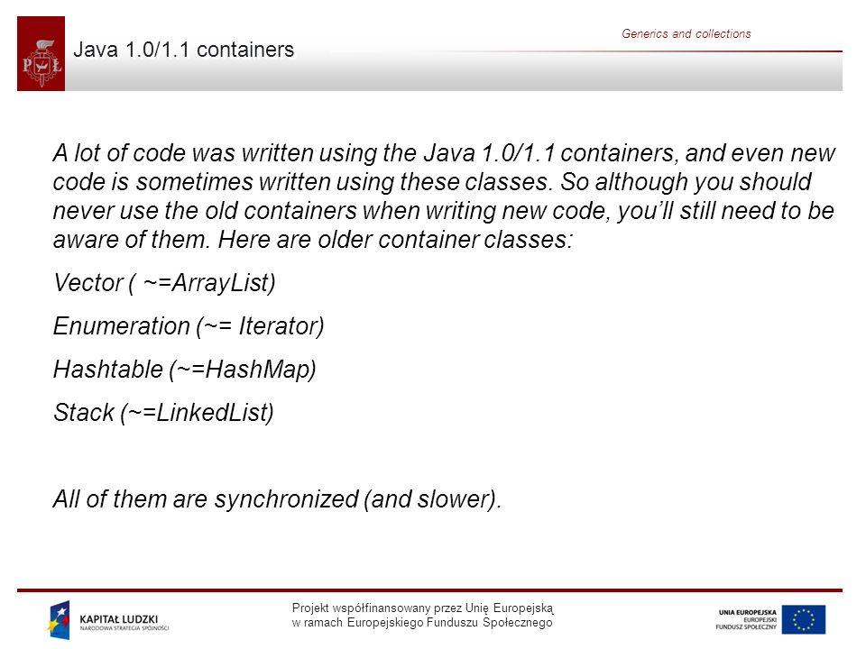 Projekt współfinansowany przez Unię Europejską w ramach Europejskiego Funduszu Społecznego Generics and collections Java 1.0/1.1 containers A lot of c