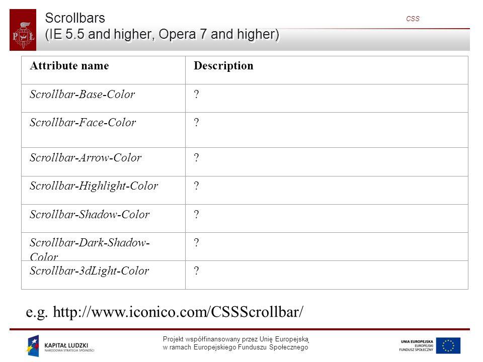 Projekt współfinansowany przez Unię Europejską w ramach Europejskiego Funduszu Społecznego CSS Scrollbars (IE 5.5 and higher, Opera 7 and higher) Attribute nameDescription Scrollbar-Base-Color.