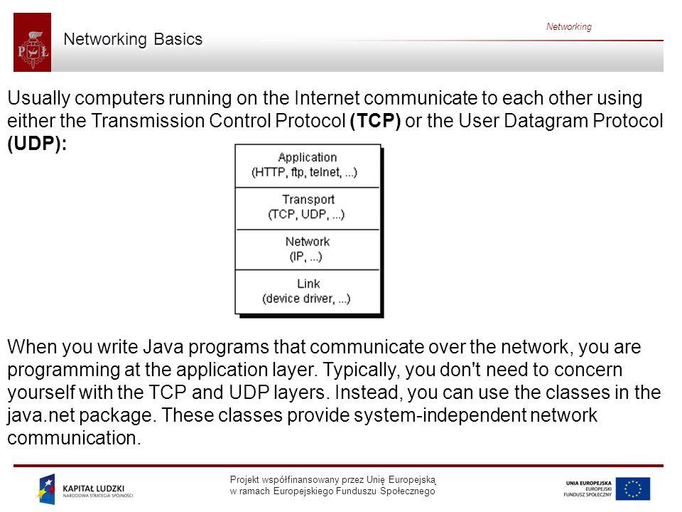 Projekt współfinansowany przez Unię Europejską w ramach Europejskiego Funduszu Społecznego Networking Server Side of Socket Creating a server socket: try { serverSocket = new ServerSocket(4444); } catch (IOException e) { System.out.println( Could not listen on port: 4444 ); System.exit(-1); }
