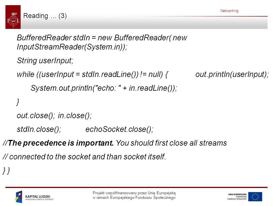 Projekt współfinansowany przez Unię Europejską w ramach Europejskiego Funduszu Społecznego Networking Reading... (3) BufferedReader stdIn = new Buffer
