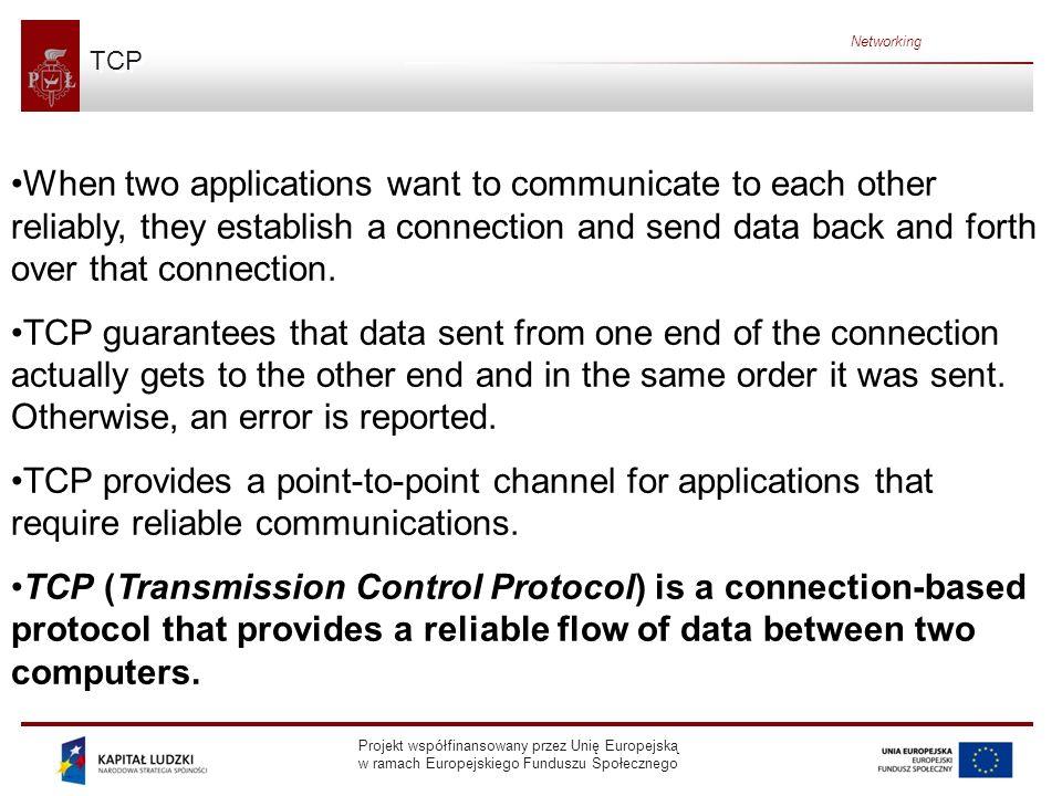 Projekt współfinansowany przez Unię Europejską w ramach Europejskiego Funduszu Społecznego Networking UDP The UDP protocol provides for communication that is not guaranteed between two applications on the network.
