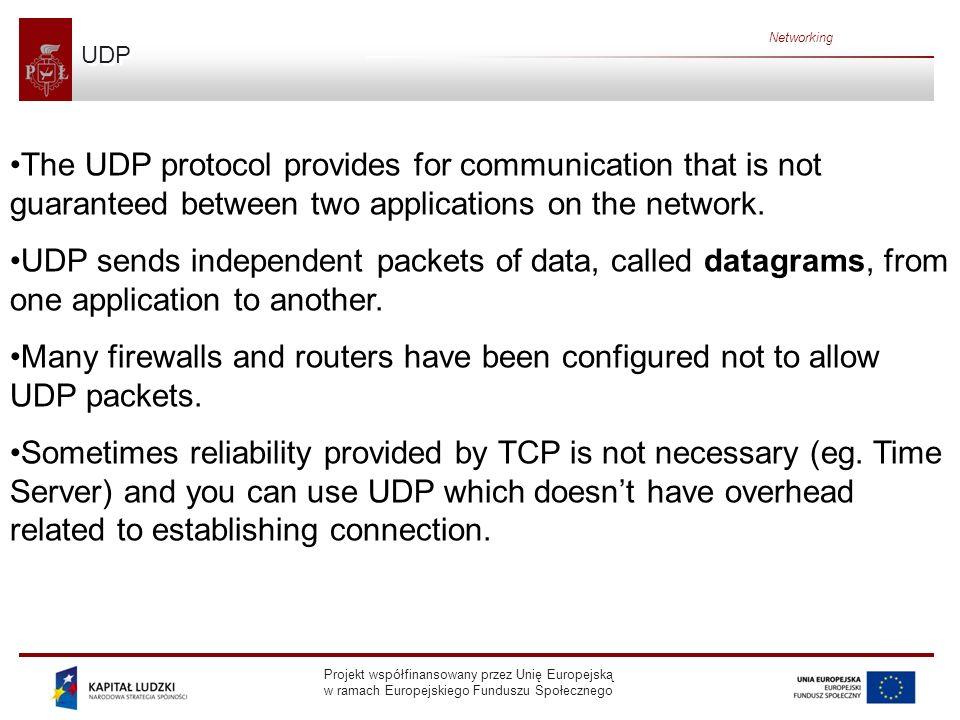 Projekt współfinansowany przez Unię Europejską w ramach Europejskiego Funduszu Społecznego Networking Ports Generally a computer has a single physical connection to the network.