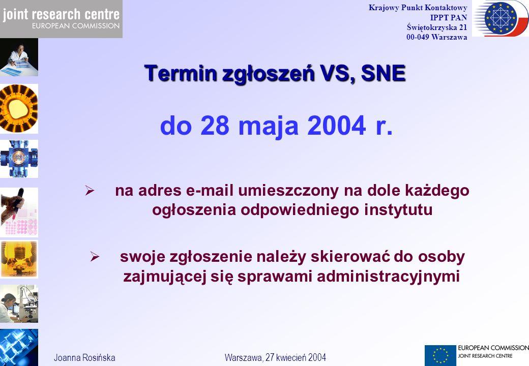 29 Joanna RosińskaWarszawa, 27 kwiecień 2004 Krajowy Punkt Kontaktowy IPPT PAN Świętokrzyska 21 00-049 Warszawa Termin zgłoszeń VS, SNE do 28 maja 2004 r.
