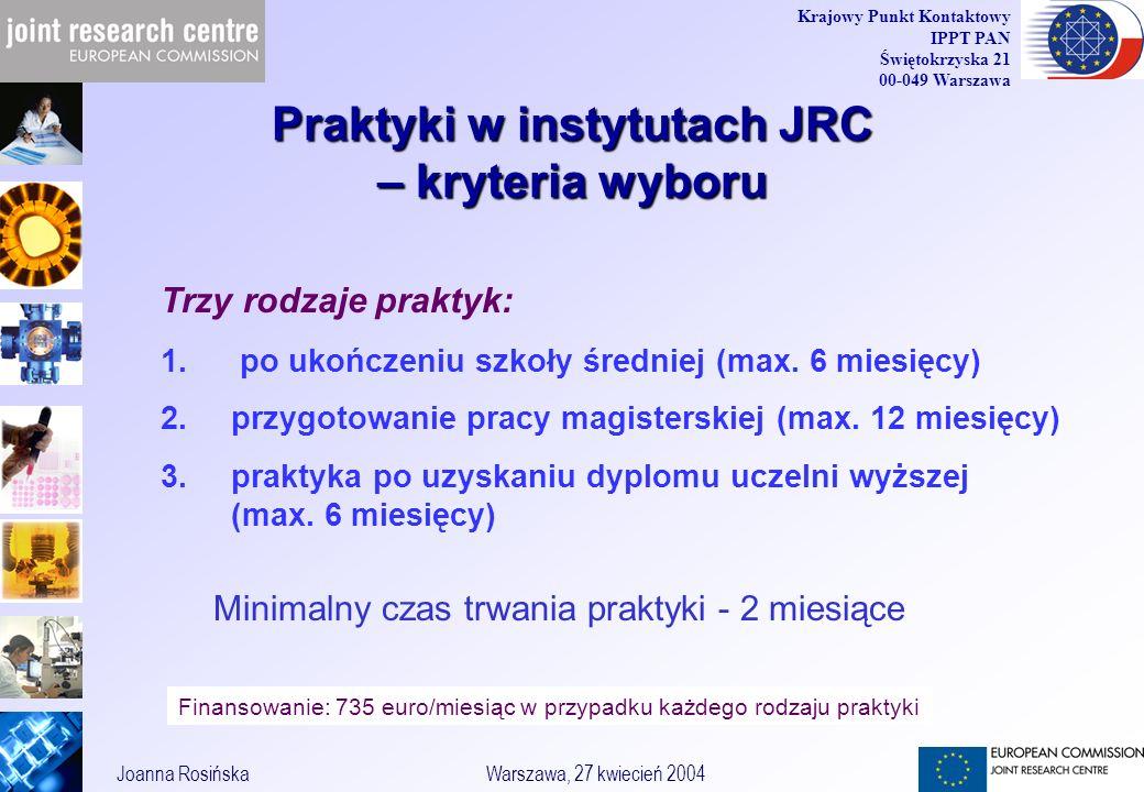 36 Joanna RosińskaWarszawa, 27 kwiecień 2004 Krajowy Punkt Kontaktowy IPPT PAN Świętokrzyska 21 00-049 Warszawa Trzy rodzaje praktyk: 1.