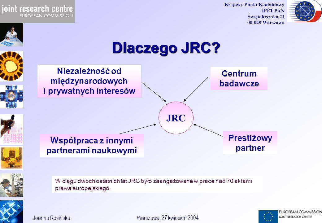 6 Joanna RosińskaWarszawa, 27 kwiecień 2004 Krajowy Punkt Kontaktowy IPPT PAN Świętokrzyska 21 00-049 Warszawa Dlaczego JRC.