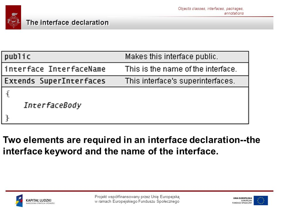 Projekt współfinansowany przez Unię Europejską w ramach Europejskiego Funduszu Społecznego Objects classes, interfaces, packages, annotations The interface declaration Two elements are required in an interface declaration--the interface keyword and the name of the interface.