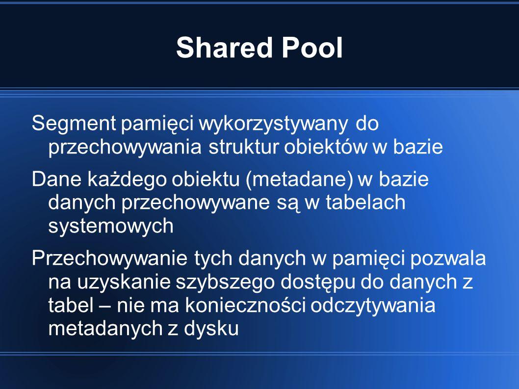 Shared Pool Segment pamięci wykorzystywany do przechowywania struktur obiektów w bazie Dane każdego obiektu (metadane) w bazie danych przechowywane są w tabelach systemowych Przechowywanie tych danych w pamięci pozwala na uzyskanie szybszego dostępu do danych z tabel – nie ma konieczności odczytywania metadanych z dysku