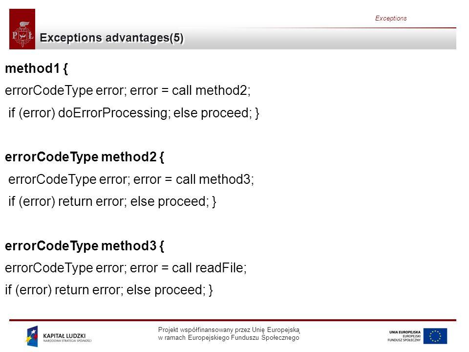 Projekt współfinansowany przez Unię Europejską w ramach Europejskiego Funduszu Społecznego Exceptions Methods inherited from Throwable void printStackTrace( ) void printStackTrace(PrintStream) void printStackTrace(PrintWriter) Prints the Throwable and the Throwables call stack trace.