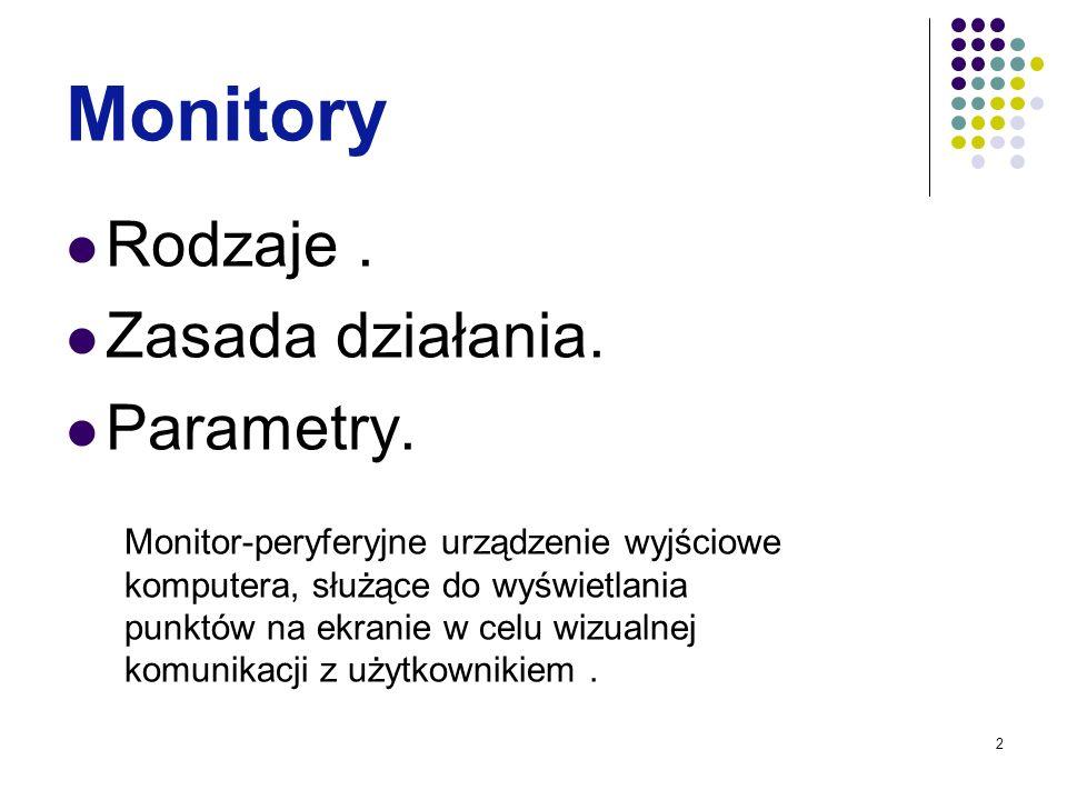 2 Monitory Rodzaje. Zasada działania. Parametry. Monitor-peryferyjne urządzenie wyjściowe komputera, służące do wyświetlania punktów na ekranie w celu
