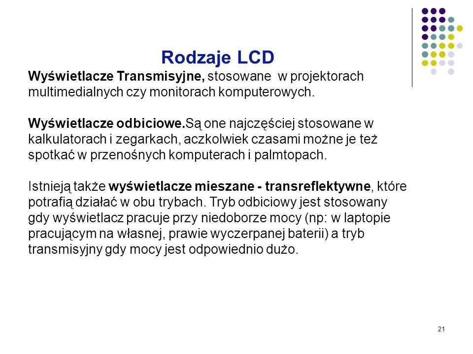 21 Rodzaje LCD Wyświetlacze Transmisyjne, stosowane w projektorach multimedialnych czy monitorach komputerowych. Wyświetlacze odbiciowe.Są one najczęś