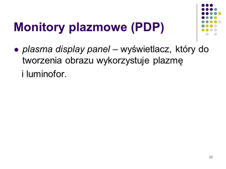 23 Monitory plazmowe (PDP) plasma display panel – wyświetlacz, który do tworzenia obrazu wykorzystuje plazmę i luminofor.