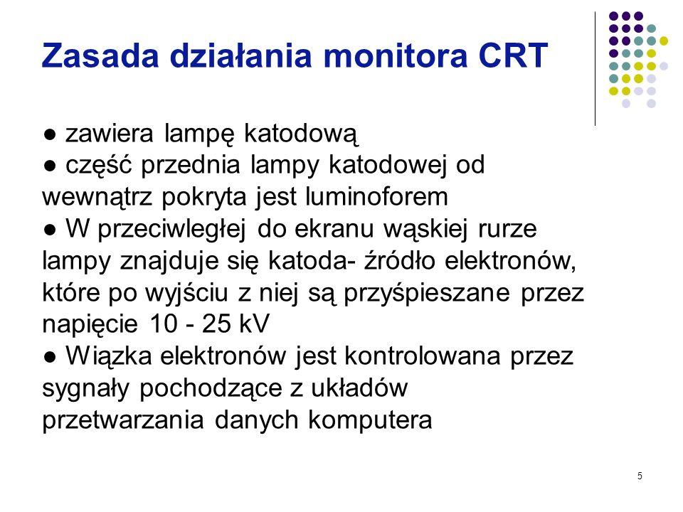 5 Zasada działania monitora CRT zawiera lampę katodową część przednia lampy katodowej od wewnątrz pokryta jest luminoforem W przeciwległej do ekranu w