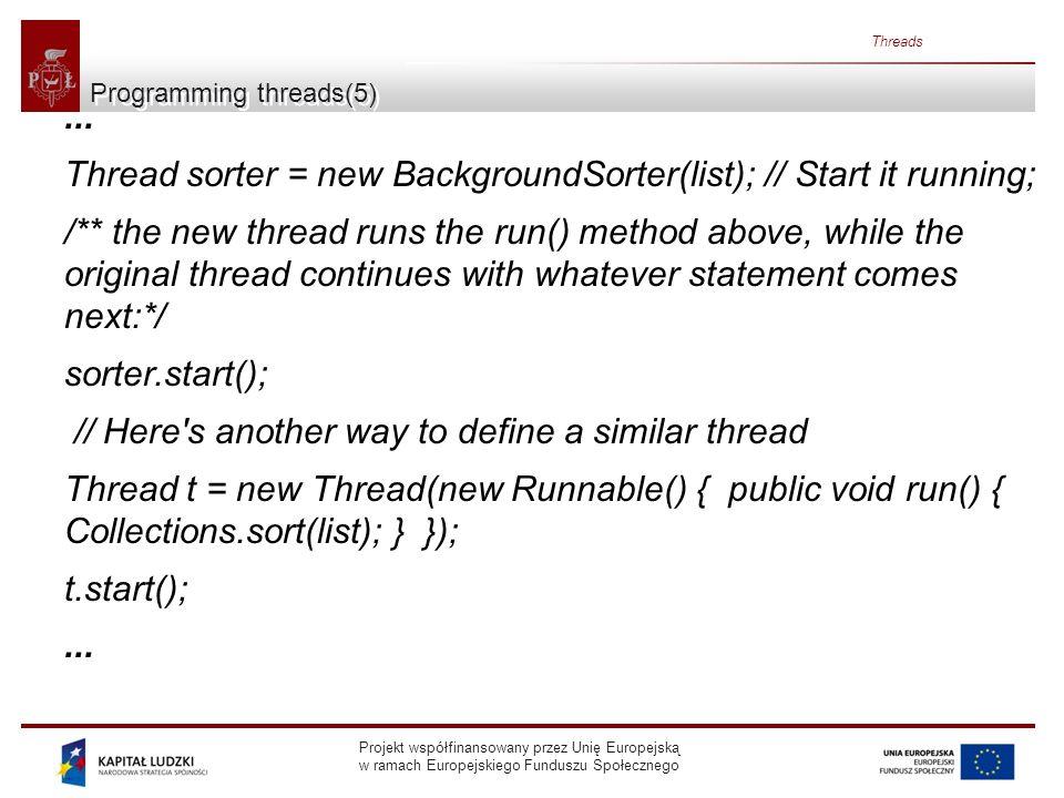 Projekt współfinansowany przez Unię Europejską w ramach Europejskiego Funduszu Społecznego Threads Programming threads(5)... Thread sorter = new Backg