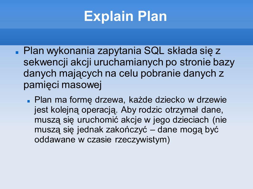 Explain Plan Plan wykonania zapytania SQL składa się z sekwencji akcji uruchamianych po stronie bazy danych mających na celu pobranie danych z pamięci masowej Plan ma formę drzewa, każde dziecko w drzewie jest kolejną operacją.