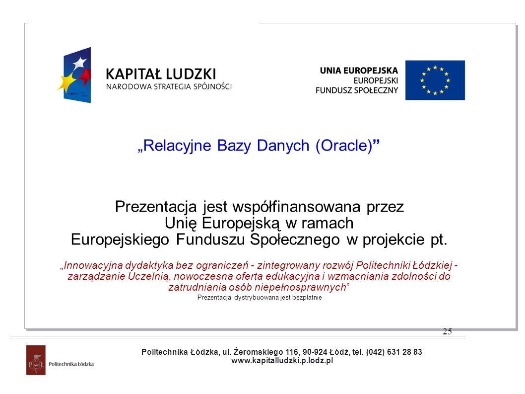 Projekt współfinansowany przez Unię Europejską w ramach Europejskiego Funduszu Społecznego Relacyjne Bazy Danych (Oracle) Prezentacja jest współfinans
