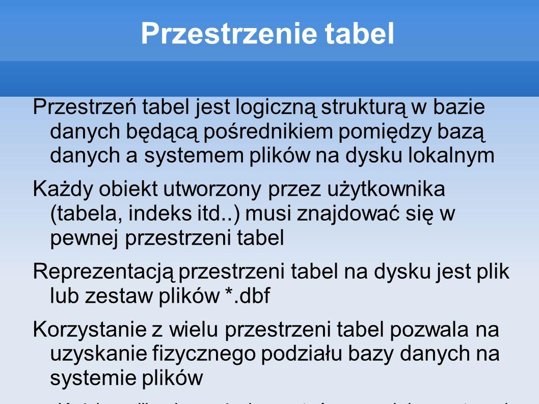 Przestrzenie tabel Przestrzenie tabel mogą mieć postać Trwałą (Permanent Tablespace) Tymczasową (Temporary Tablespace) Przestrzeń wycofań (Undo Tablespace)