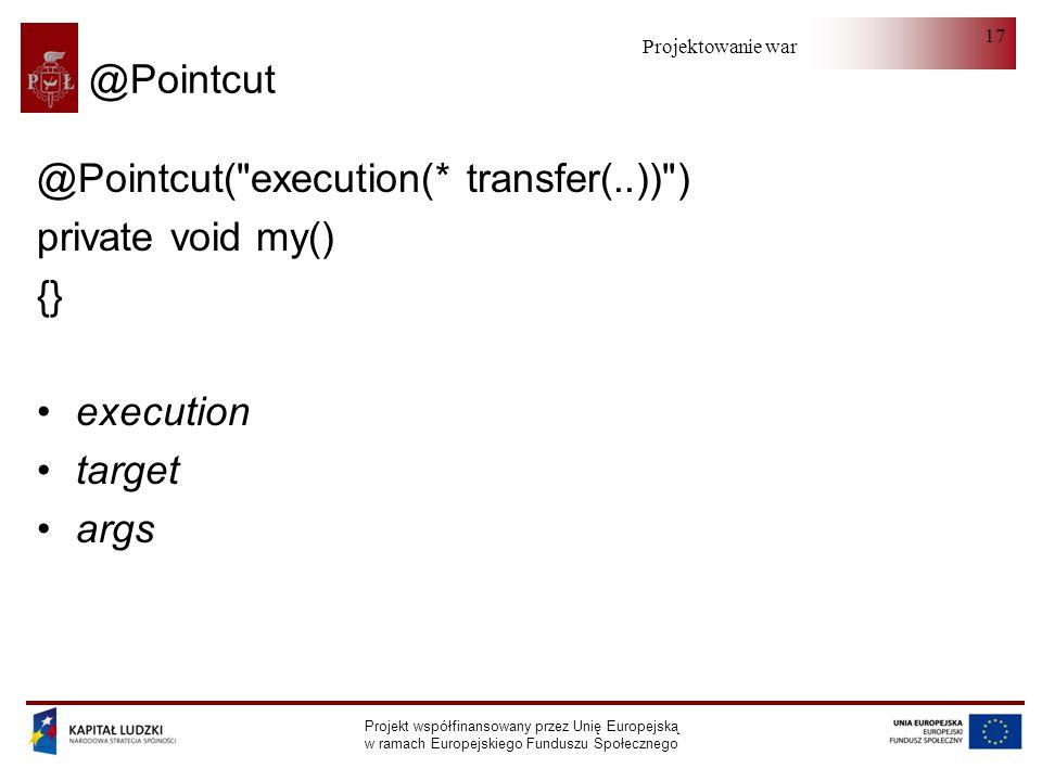 Projektowanie warstwy serwera Projekt współfinansowany przez Unię Europejską w ramach Europejskiego Funduszu Społecznego 17 @Pointcut @Pointcut( execution(* transfer(..)) ) private void my() {} execution target args