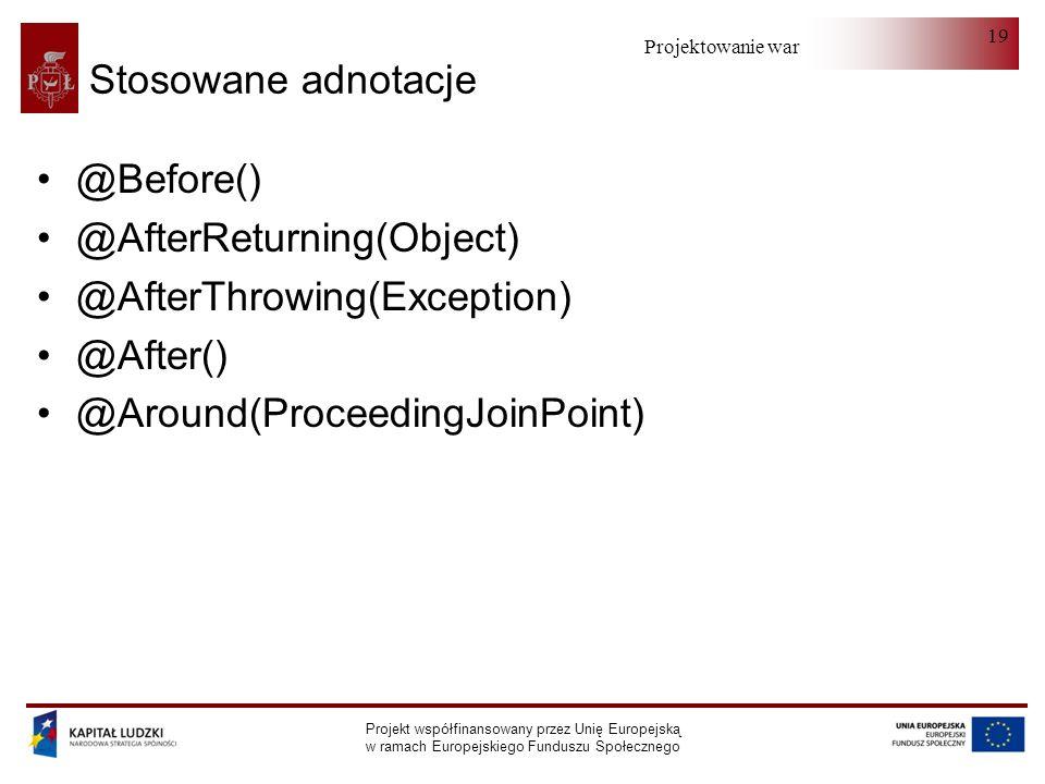 Projektowanie warstwy serwera Projekt współfinansowany przez Unię Europejską w ramach Europejskiego Funduszu Społecznego 19 Stosowane adnotacje @Before() @AfterReturning(Object) @AfterThrowing(Exception) @After() @Around(ProceedingJoinPoint)