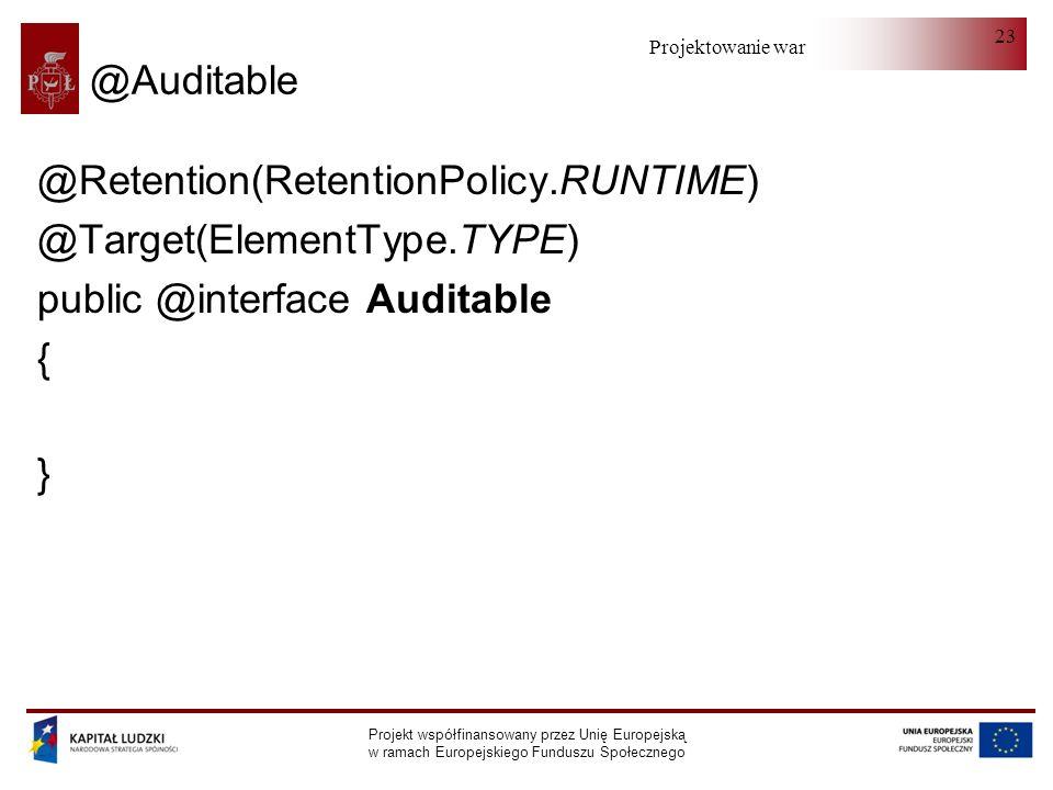 Projektowanie warstwy serwera Projekt współfinansowany przez Unię Europejską w ramach Europejskiego Funduszu Społecznego 23 @Auditable @Retention(Rete