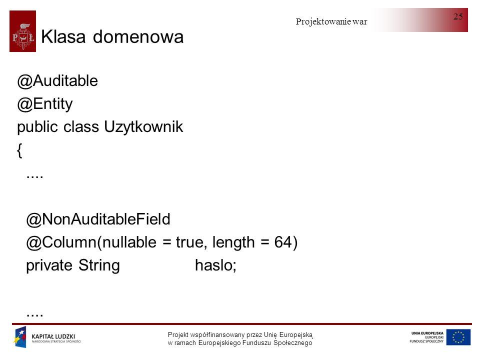 Projektowanie warstwy serwera Projekt współfinansowany przez Unię Europejską w ramach Europejskiego Funduszu Społecznego 25 Klasa domenowa @Auditable @Entity public class Uzytkownik {....