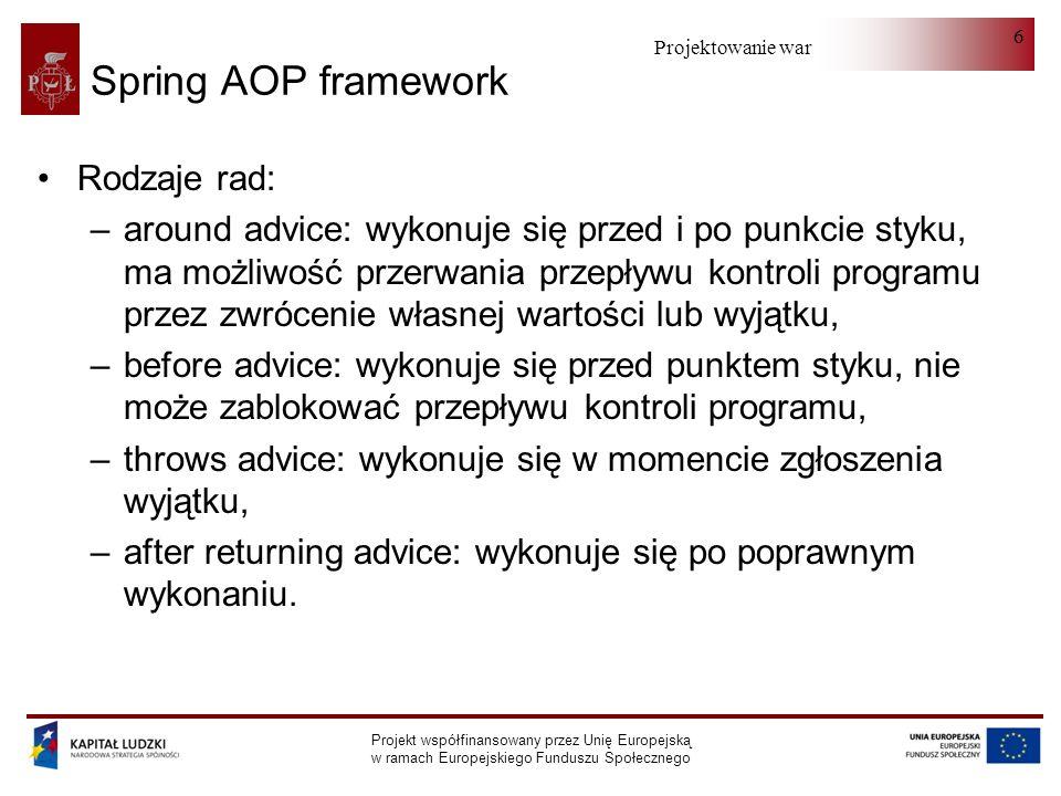 Projektowanie warstwy serwera Projekt współfinansowany przez Unię Europejską w ramach Europejskiego Funduszu Społecznego 6 Spring AOP framework Rodzaje rad: –around advice: wykonuje się przed i po punkcie styku, ma możliwość przerwania przepływu kontroli programu przez zwrócenie własnej wartości lub wyjątku, –before advice: wykonuje się przed punktem styku, nie może zablokować przepływu kontroli programu, –throws advice: wykonuje się w momencie zgłoszenia wyjątku, –after returning advice: wykonuje się po poprawnym wykonaniu.