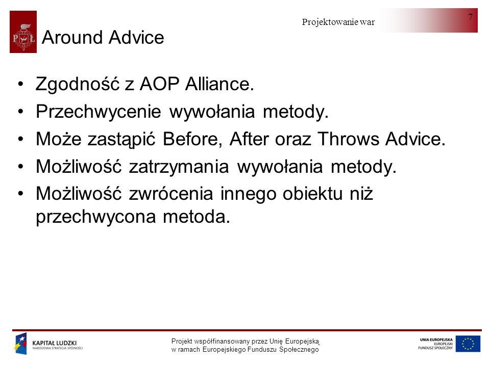 Projektowanie warstwy serwera Projekt współfinansowany przez Unię Europejską w ramach Europejskiego Funduszu Społecznego 7 Around Advice Zgodność z AOP Alliance.