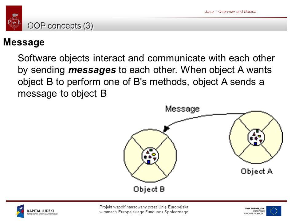 Projekt współfinansowany przez Unię Europejską w ramach Europejskiego Funduszu Społecznego Java – Overview and Basics OOP concepts (3) Message Software objects interact and communicate with each other by sending messages to each other.