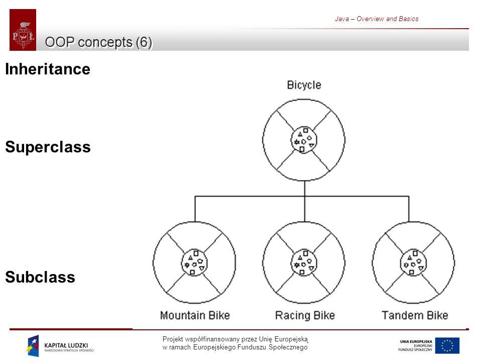 Projekt współfinansowany przez Unię Europejską w ramach Europejskiego Funduszu Społecznego Java – Overview and Basics OOP concepts (6) Inheritance Superclass Subclass