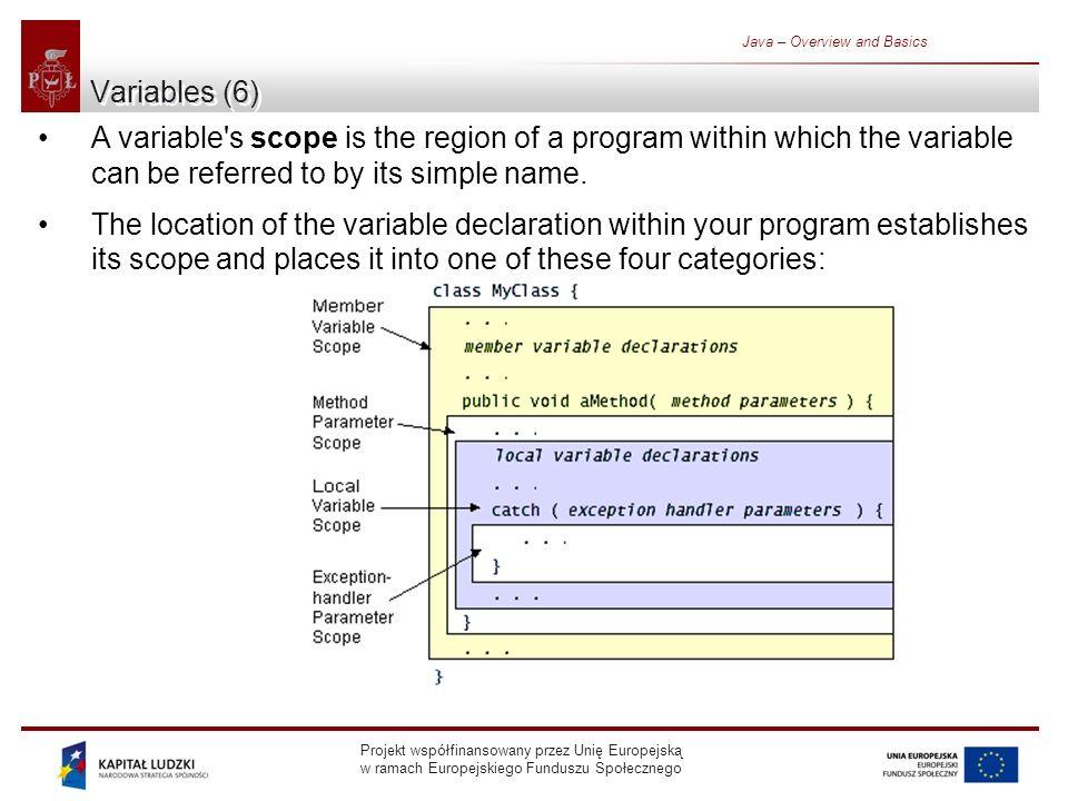 Projekt współfinansowany przez Unię Europejską w ramach Europejskiego Funduszu Społecznego Java – Overview and Basics Variables (6) A variable s scope is the region of a program within which the variable can be referred to by its simple name.