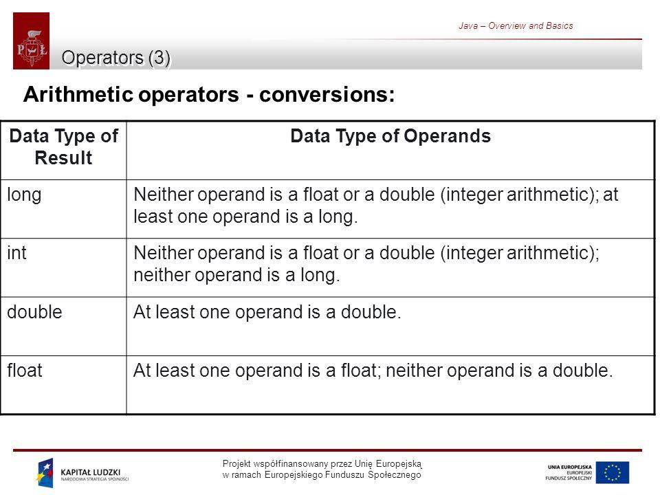 Projekt współfinansowany przez Unię Europejską w ramach Europejskiego Funduszu Społecznego Java – Overview and Basics Operators (3) Arithmetic operato