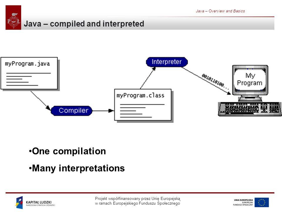 Projekt współfinansowany przez Unię Europejską w ramach Europejskiego Funduszu Społecznego Java – Overview and Basics One compilation Many interpretations Java – compiled and interpreted