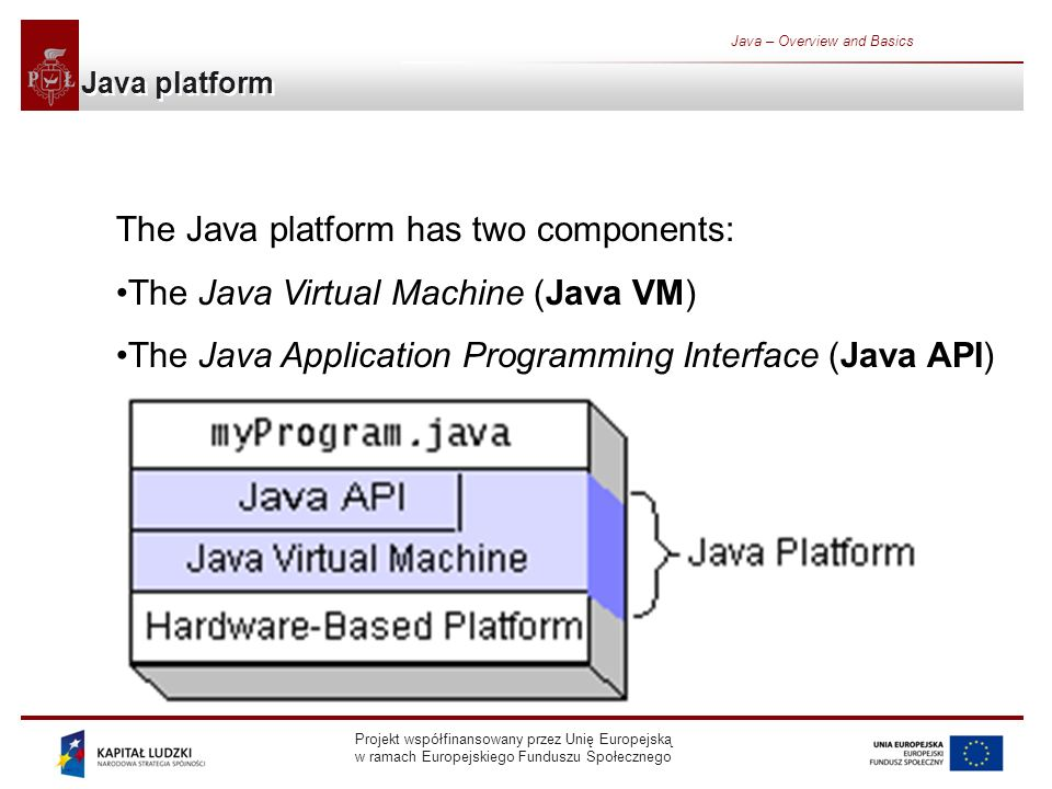 Projekt współfinansowany przez Unię Europejską w ramach Europejskiego Funduszu Społecznego Java – Overview and Basics Java platform The Java platform has two components: The Java Virtual Machine (Java VM) The Java Application Programming Interface (Java API)
