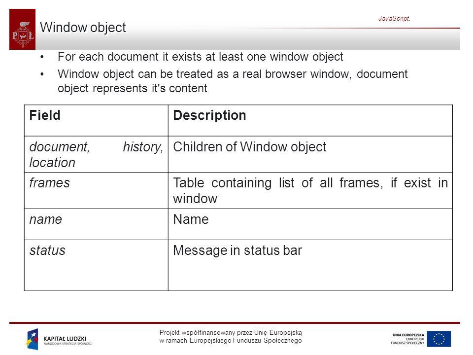 Projekt współfinansowany przez Unię Europejską w ramach Europejskiego Funduszu Społecznego JavaScript. Window object For each document it exists at le