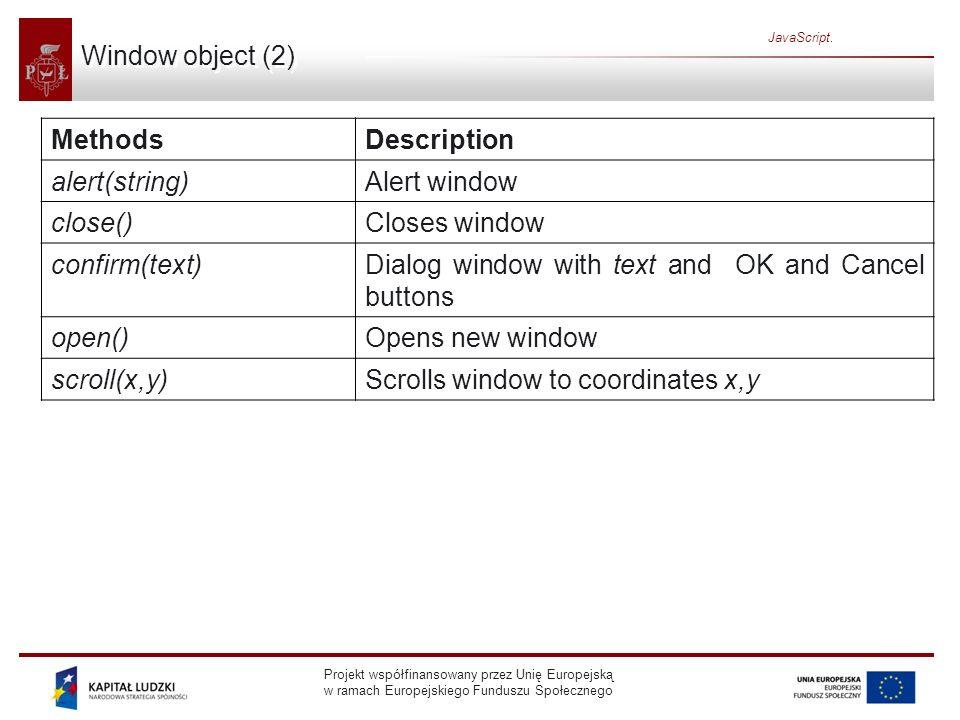 Projekt współfinansowany przez Unię Europejską w ramach Europejskiego Funduszu Społecznego JavaScript. Window object (2) MethodsDescription alert(stri