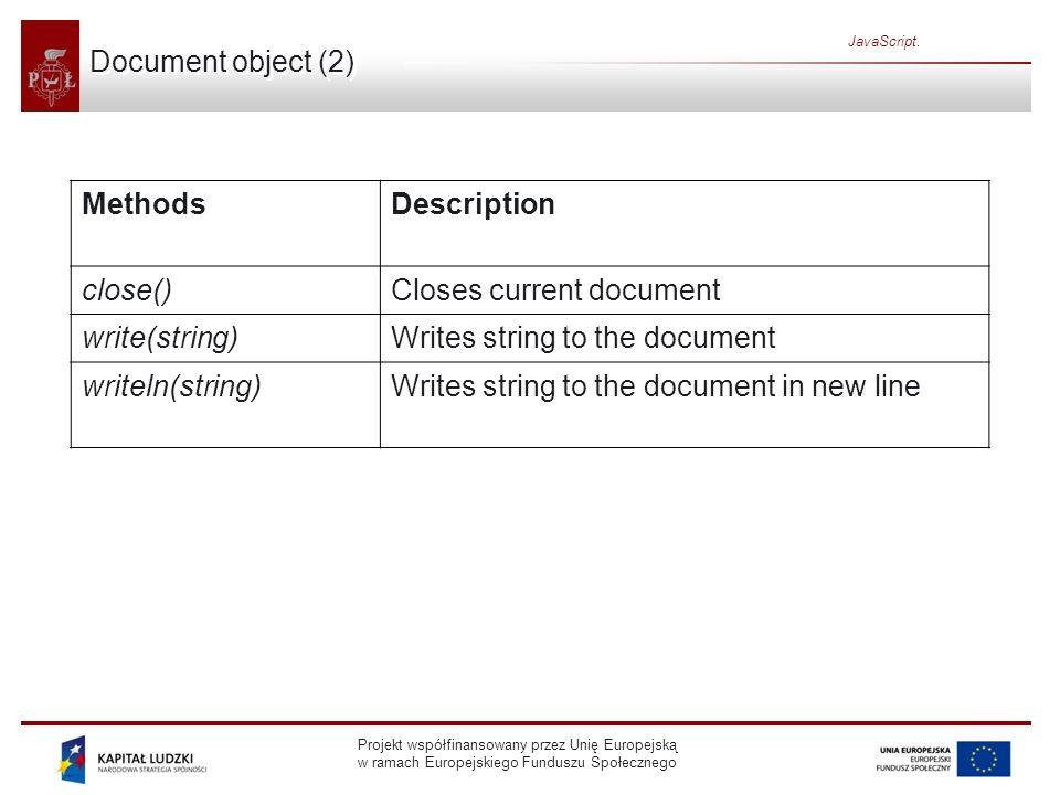 Projekt współfinansowany przez Unię Europejską w ramach Europejskiego Funduszu Społecznego JavaScript. Document object (2) MethodsDescription close()C