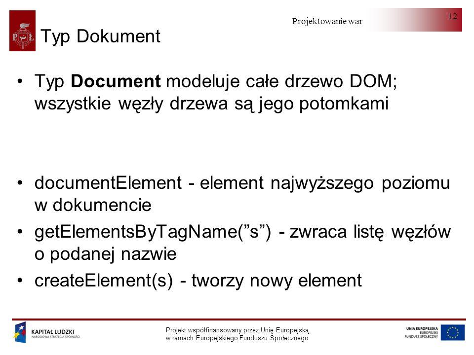Projektowanie warstwy serwera Projekt współfinansowany przez Unię Europejską w ramach Europejskiego Funduszu Społecznego 12 Typ Dokument Typ Document modeluje całe drzewo DOM; wszystkie węzły drzewa są jego potomkami documentElement - element najwyższego poziomu w dokumencie getElementsByTagName(s) - zwraca listę węzłów o podanej nazwie createElement(s) - tworzy nowy element