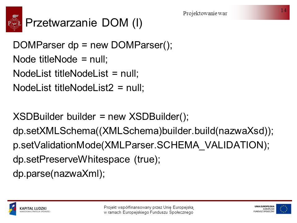 Projektowanie warstwy serwera Projekt współfinansowany przez Unię Europejską w ramach Europejskiego Funduszu Społecznego 14 Przetwarzanie DOM (I) DOMParser dp = new DOMParser(); Node titleNode = null; NodeList titleNodeList = null; NodeList titleNodeList2 = null; XSDBuilder builder = new XSDBuilder(); dp.setXMLSchema((XMLSchema)builder.build(nazwaXsd)); p.setValidationMode(XMLParser.SCHEMA_VALIDATION); dp.setPreserveWhitespace (true); dp.parse(nazwaXml);