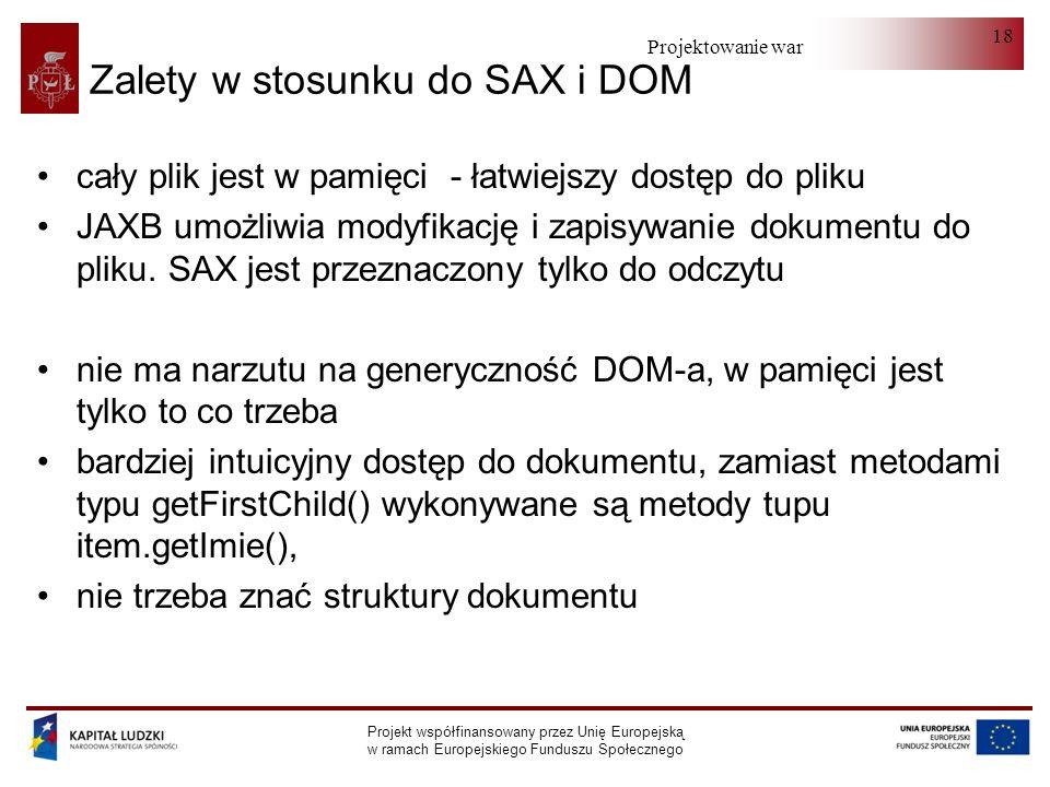 Projektowanie warstwy serwera Projekt współfinansowany przez Unię Europejską w ramach Europejskiego Funduszu Społecznego 18 Zalety w stosunku do SAX i DOM cały plik jest w pamięci - łatwiejszy dostęp do pliku JAXB umożliwia modyfikację i zapisywanie dokumentu do pliku.