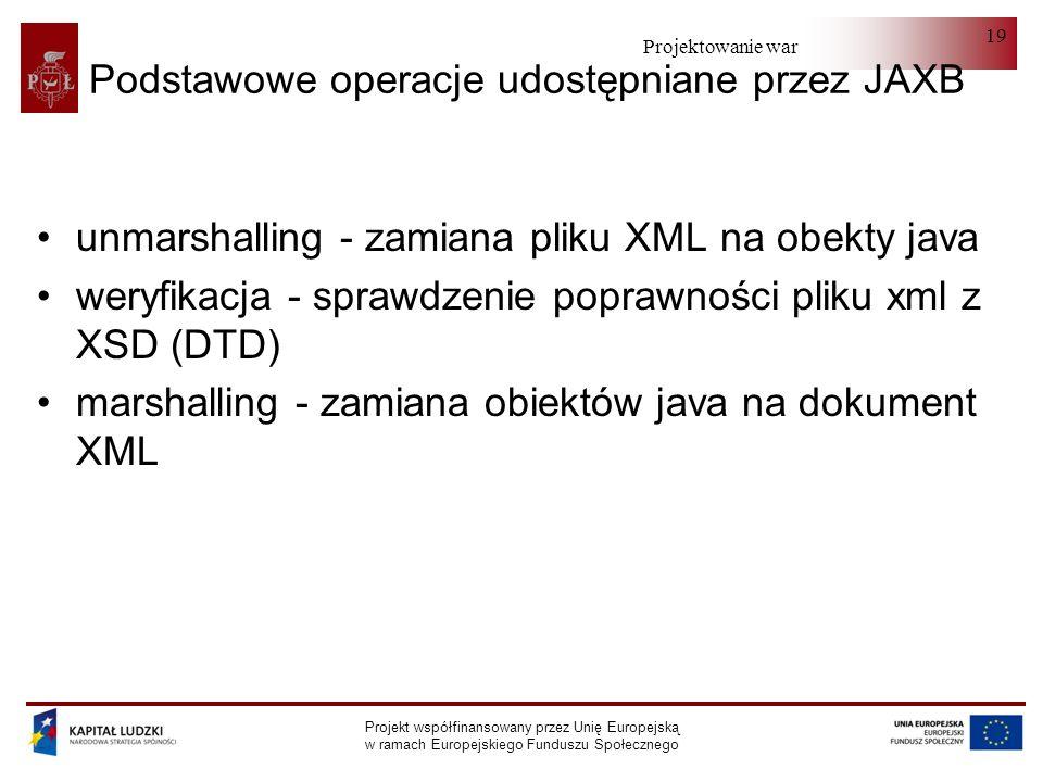 Projektowanie warstwy serwera Projekt współfinansowany przez Unię Europejską w ramach Europejskiego Funduszu Społecznego 19 Podstawowe operacje udostępniane przez JAXB unmarshalling - zamiana pliku XML na obekty java weryfikacja - sprawdzenie poprawności pliku xml z XSD (DTD) marshalling - zamiana obiektów java na dokument XML