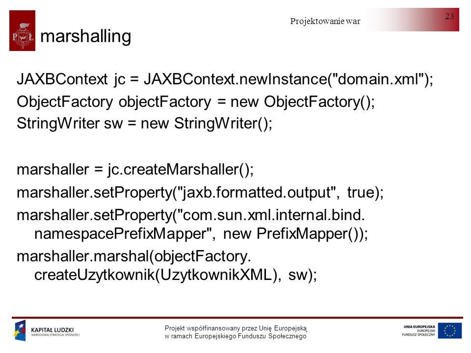 Projektowanie warstwy serwera Projekt współfinansowany przez Unię Europejską w ramach Europejskiego Funduszu Społecznego 23 marshalling JAXBContext jc = JAXBContext.newInstance( domain.xml ); ObjectFactory objectFactory = new ObjectFactory(); StringWriter sw = new StringWriter(); marshaller = jc.createMarshaller(); marshaller.setProperty( jaxb.formatted.output , true); marshaller.setProperty( com.sun.xml.internal.bind.