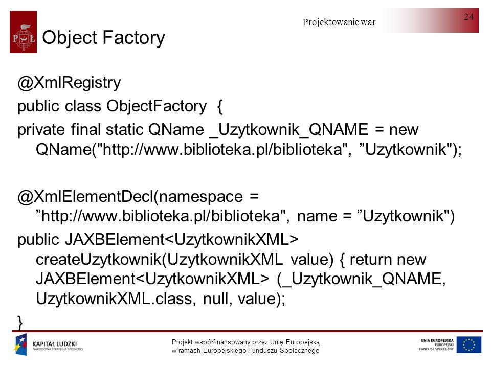 Projektowanie warstwy serwera Projekt współfinansowany przez Unię Europejską w ramach Europejskiego Funduszu Społecznego 24 Object Factory @XmlRegistry public class ObjectFactory { private final static QName _Uzytkownik_QNAME = new QName( http://www.biblioteka.pl/biblioteka , Uzytkownik ); @XmlElementDecl(namespace = http://www.biblioteka.pl/biblioteka , name = Uzytkownik ) public JAXBElement createUzytkownik(UzytkownikXML value) { return new JAXBElement (_Uzytkownik_QNAME, UzytkownikXML.class, null, value); }