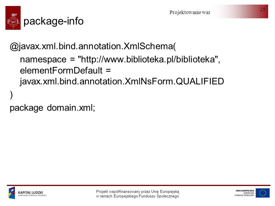 Projektowanie warstwy serwera Projekt współfinansowany przez Unię Europejską w ramach Europejskiego Funduszu Społecznego 25 package-info @javax.xml.bind.annotation.XmlSchema( namespace = http://www.biblioteka.pl/biblioteka , elementFormDefault = javax.xml.bind.annotation.XmlNsForm.QUALIFIED ) package domain.xml;