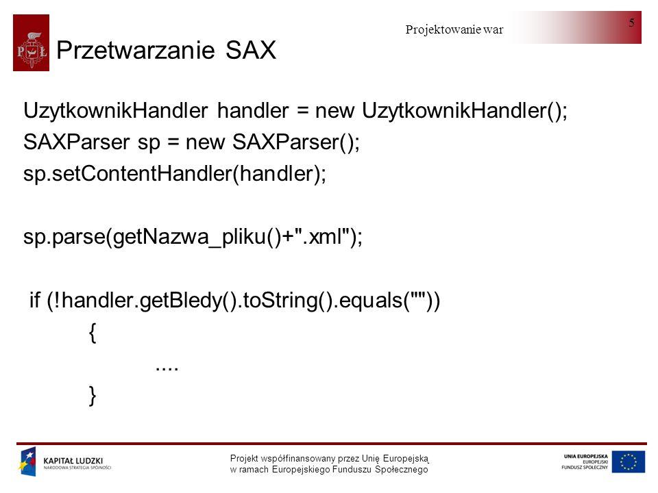 Projektowanie warstwy serwera Projekt współfinansowany przez Unię Europejską w ramach Europejskiego Funduszu Społecznego 5 Przetwarzanie SAX UzytkownikHandler handler = new UzytkownikHandler(); SAXParser sp = new SAXParser(); sp.setContentHandler(handler); sp.parse(getNazwa_pliku()+ .xml ); if (!handler.getBledy().toString().equals( )) {....