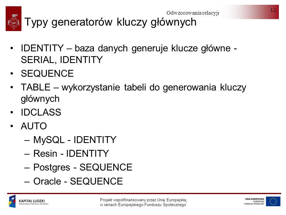 Odwzorowania relacyjno-obiektowe Projekt współfinansowany przez Unię Europejską w ramach Europejskiego Funduszu Społecznego 12 Typy generatorów kluczy głównych IDENTITY – baza danych generuje klucze główne - SERIAL, IDENTITY SEQUENCE TABLE – wykorzystanie tabeli do generowania kluczy głównych IDCLASS AUTO –MySQL - IDENTITY –Resin - IDENTITY –Postgres - SEQUENCE –Oracle - SEQUENCE