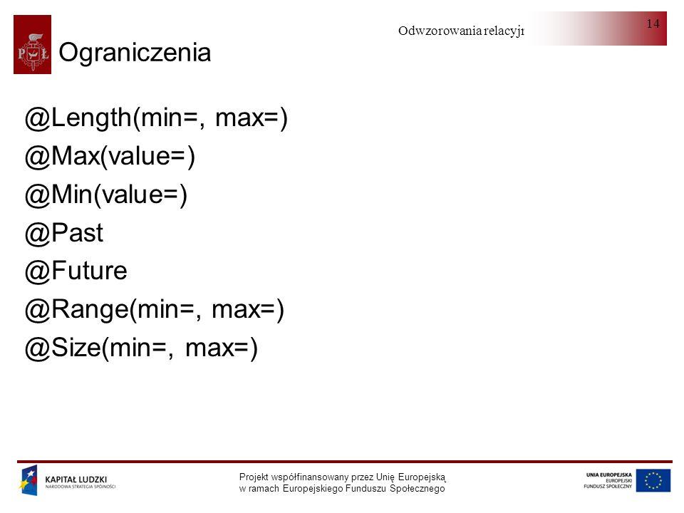 Odwzorowania relacyjno-obiektowe Projekt współfinansowany przez Unię Europejską w ramach Europejskiego Funduszu Społecznego 14 Ograniczenia @Length(min=, max=) @Max(value=) @Min(value=) @Past @Future @Range(min=, max=) @Size(min=, max=)