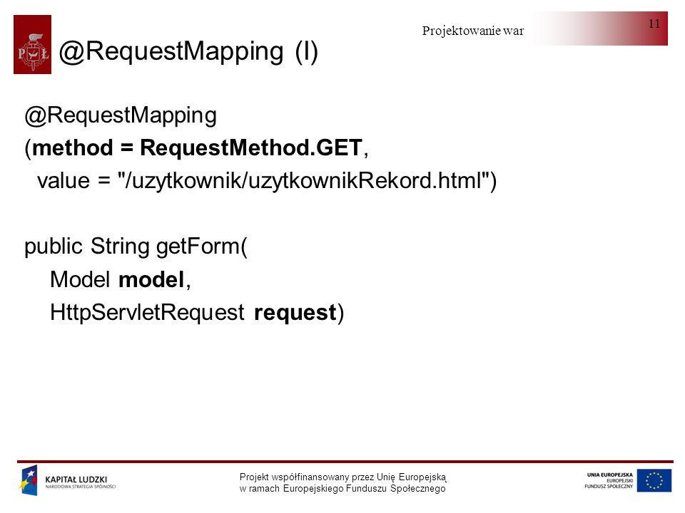 Projektowanie warstwy serwera Projekt współfinansowany przez Unię Europejską w ramach Europejskiego Funduszu Społecznego 11 @RequestMapping (I) @Reque
