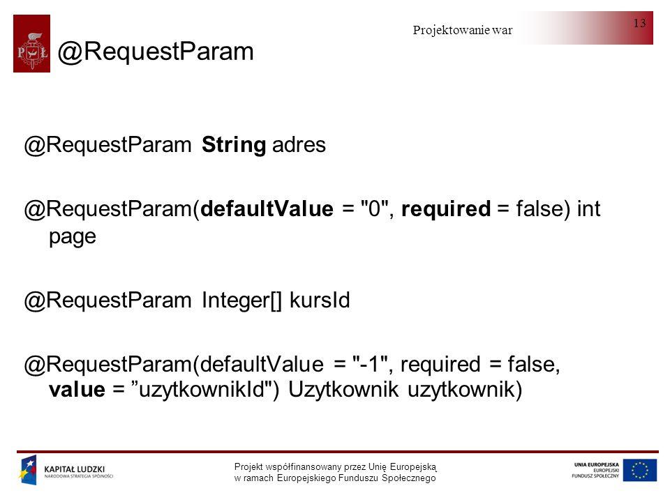 Projektowanie warstwy serwera Projekt współfinansowany przez Unię Europejską w ramach Europejskiego Funduszu Społecznego 13 @RequestParam @RequestPara