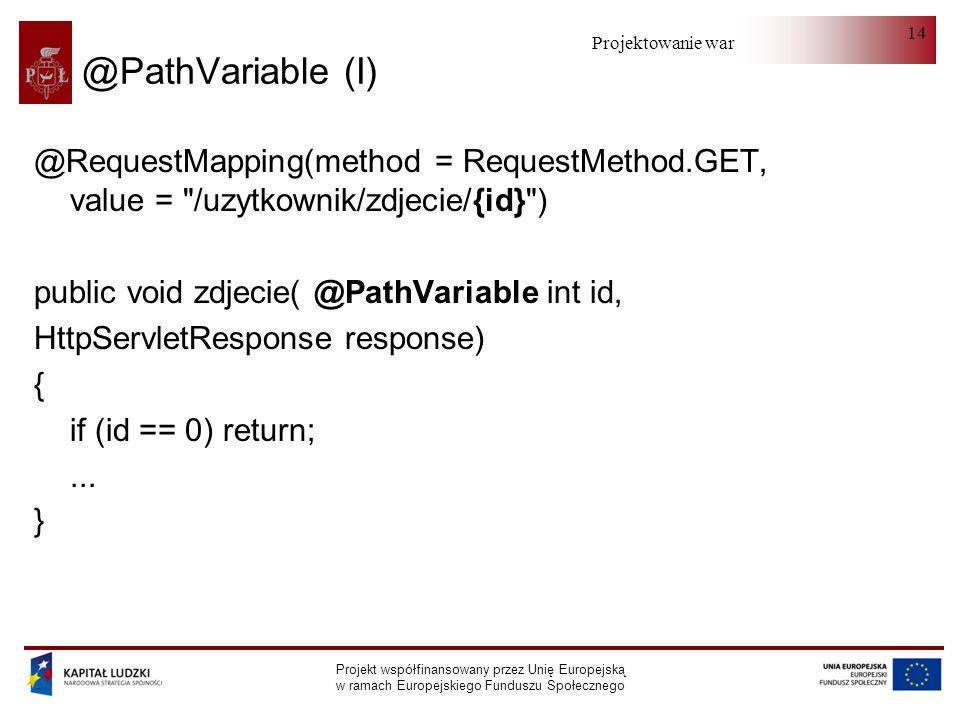 Projektowanie warstwy serwera Projekt współfinansowany przez Unię Europejską w ramach Europejskiego Funduszu Społecznego 14 @PathVariable (I) @Request