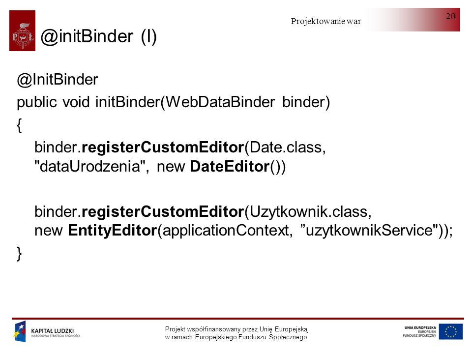 Projektowanie warstwy serwera Projekt współfinansowany przez Unię Europejską w ramach Europejskiego Funduszu Społecznego 20 @initBinder (I) @InitBinde