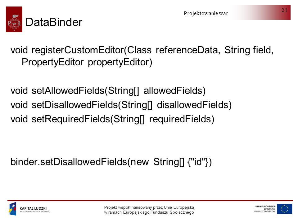 Projektowanie warstwy serwera Projekt współfinansowany przez Unię Europejską w ramach Europejskiego Funduszu Społecznego 21 DataBinder void registerCu